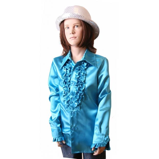Carnaval Rouches blouse blauw voor meisjes