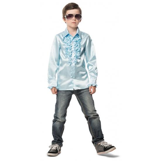 Geen Carnaval Rouches blouse lichtblauw voor kids Soorten kostuums