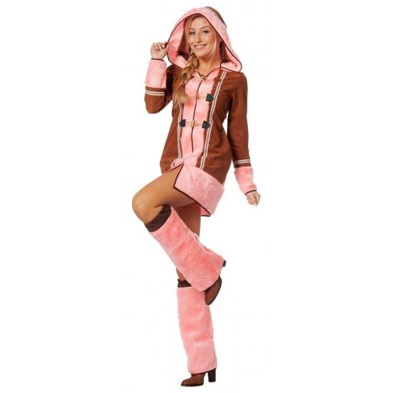 Carnaval Roze Eskimo kostuum voor dames