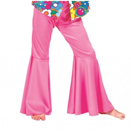 Carnaval Roze hippie broek voor kinderen