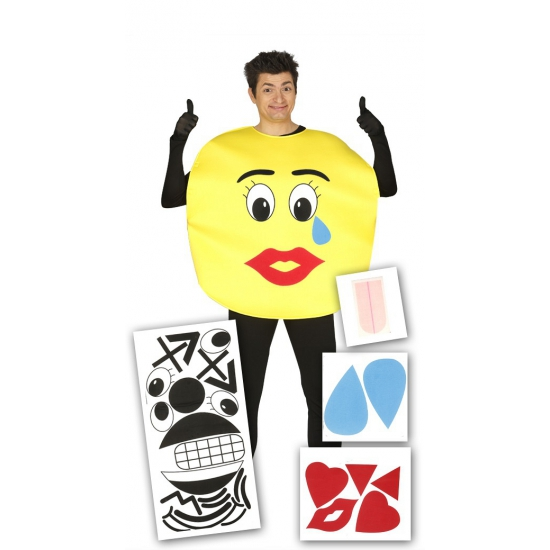 Carnaval Smiley kostuum met stickers voor volwassenen