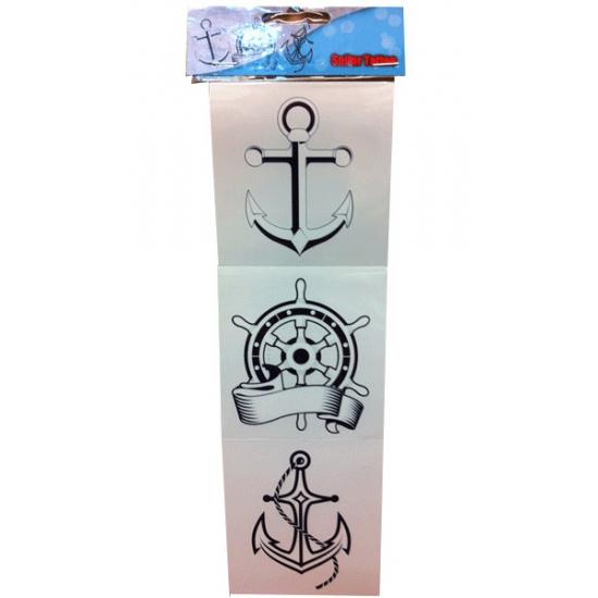 Geen Carnaval Sticker tattoos matrozen 3 stuks Verkleedaccessoires