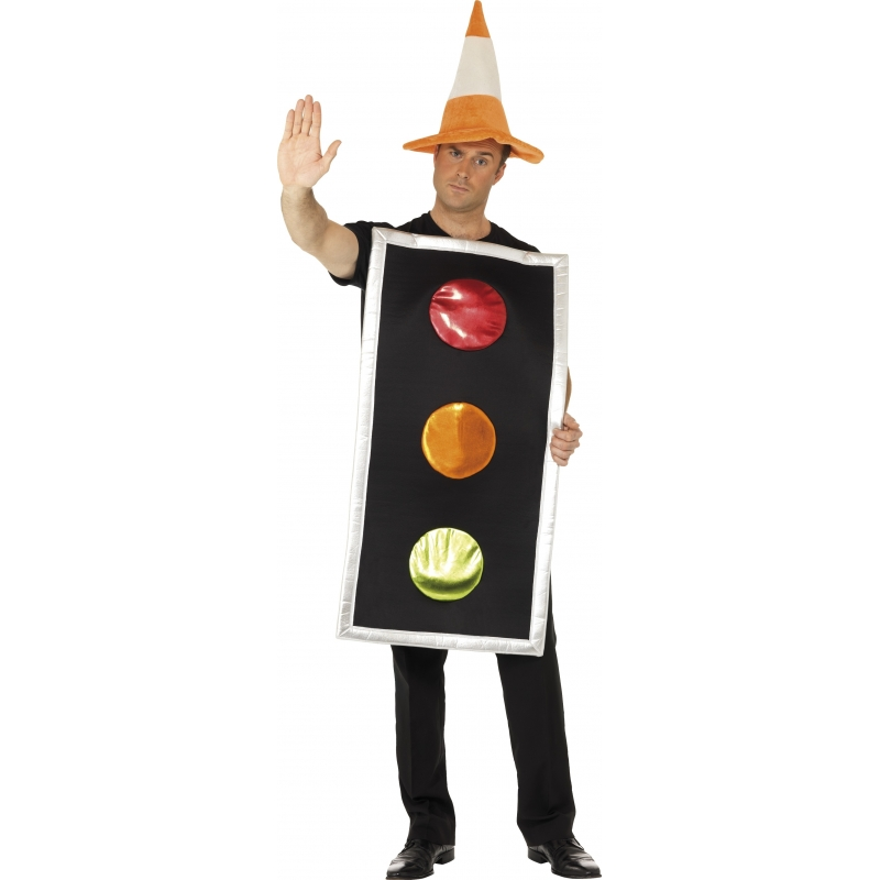 Carnaval Stoplicht kostuum met verkeerspion