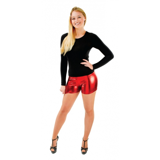 Carnaval Strakke hotpants metallic rood Carnavalskostuum winkel te koop