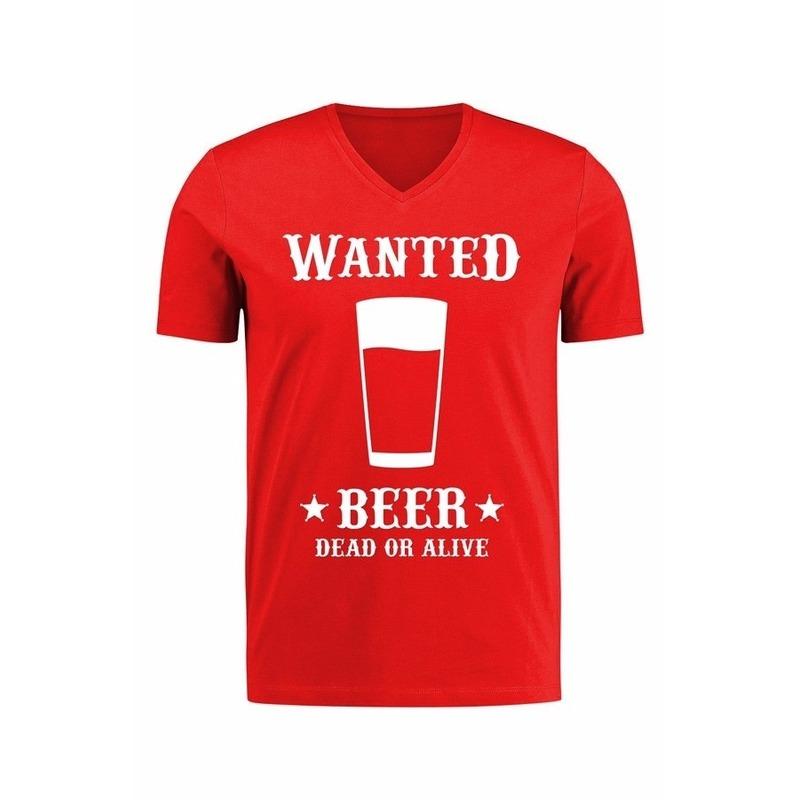 Carnaval Verkleed cowboy shirt Wanted Beer voor heren