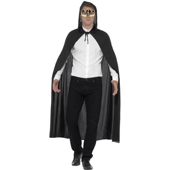 Carnaval Verkleed zwarte cape met muzieknoten oogmasker voor volwassenen