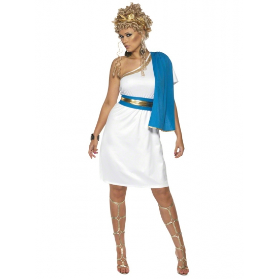 Carnaval Wit met blauw romeins jurkje
