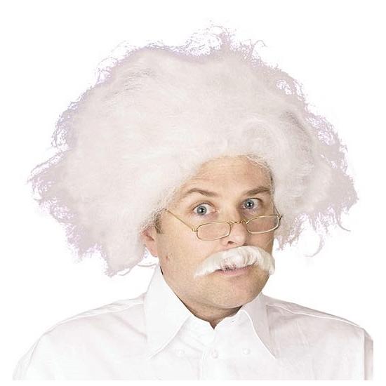 Carnaval Witte Einstein pruik met snor