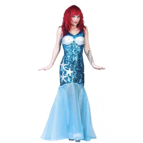 Carnaval Zeemeermin jurk blauw