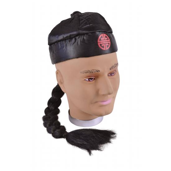 Feest hoeden Carnavalskostuum winkel Carnaval Zwart Chinees hoedje met vlecht