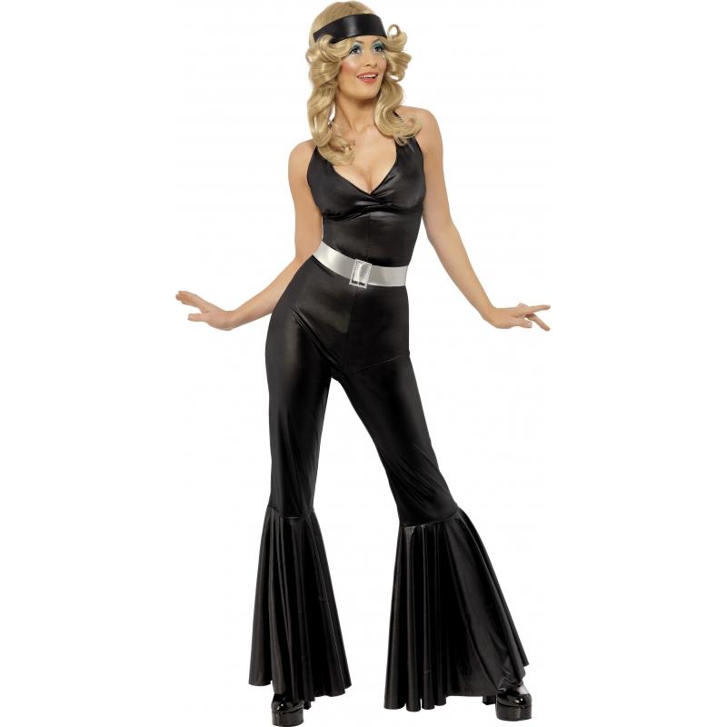 Carnaval Zwart disco kostuum voor dames