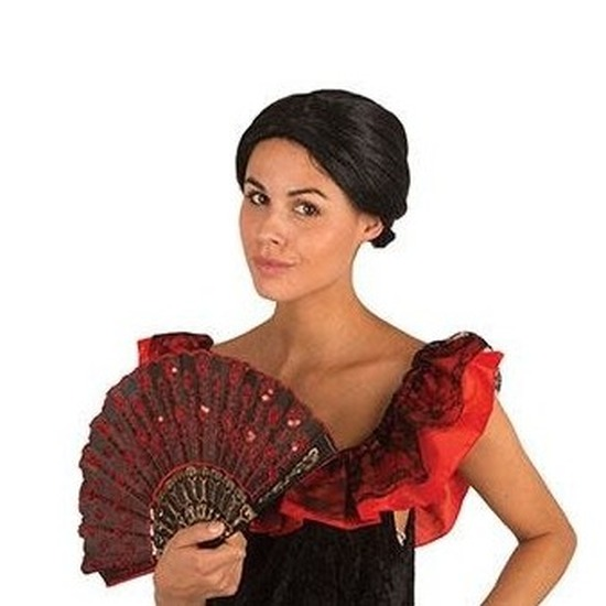 Carnaval Zwarte damespruik met knot Carnavalskostuum winkel Hoge kwaliteit