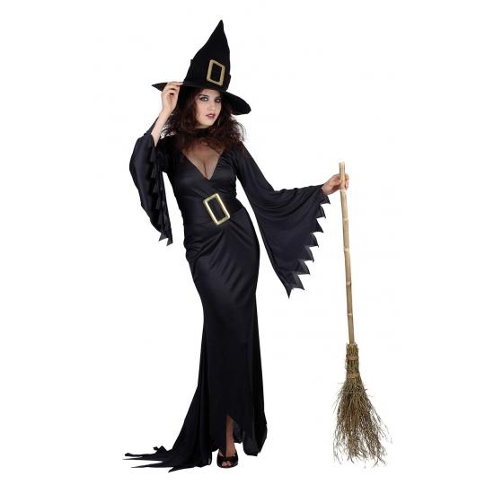 Carnaval Zwarte lange heksen jurk