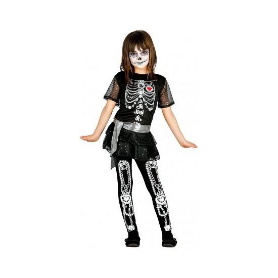 Carnavalkostuum Skelet Jurkje Met Glitters Voor Meisjes