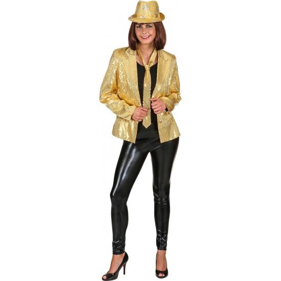 Carnavalskleding gouden colbert voor dames