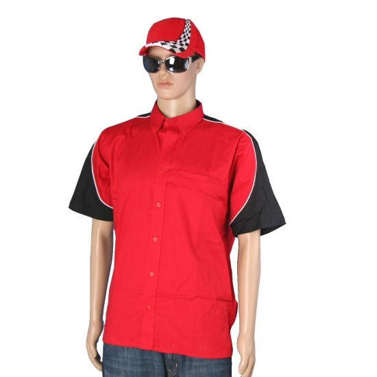 Carnavalskleding rood race shirt met cap maat XXL