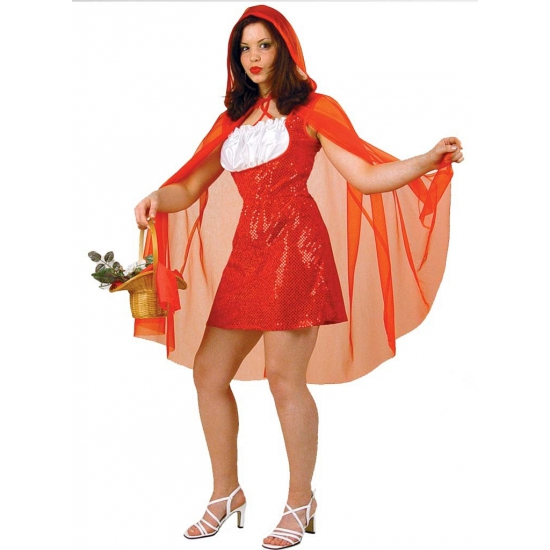 Carnavalskleding roodkapje jurkje met rode pailletten en cape