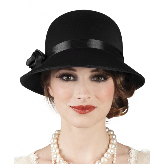 Feest hoeden Charleston hoed zwart voor dames