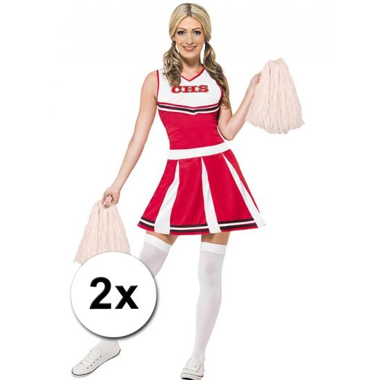 Feestartikelen diversen Carnavalskostuum winkel Cheerballs wit 2 stuks