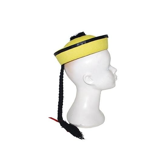 Feest hoeden Carnavalskostuum winkel Chinese hoed geel met vlecht