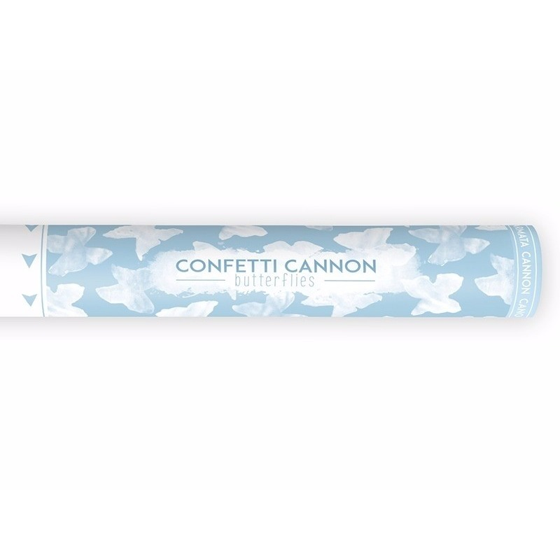 Confetti kanon witte vlinders 40 cm