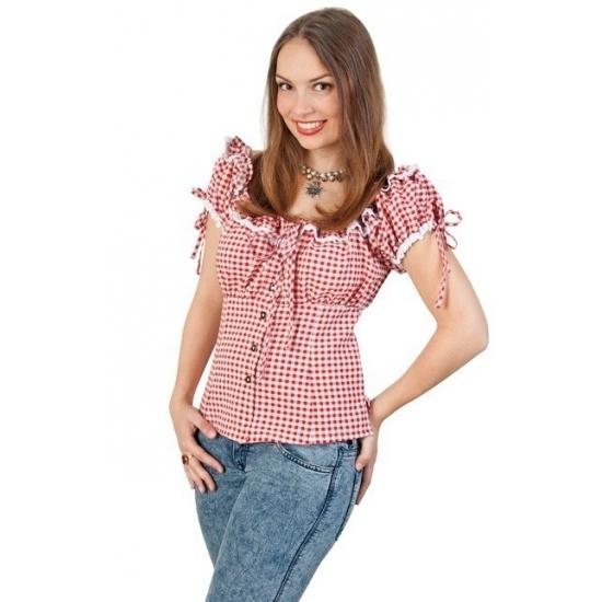 Geschiedenis kostuums Geen Cowboy blouse met plofmouwtjes dames rood wit