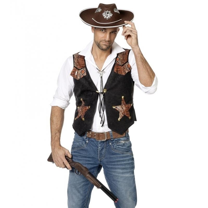 Carnavalskostuum winkel Cowboy vestje voor heren Geschiedenis kostuums