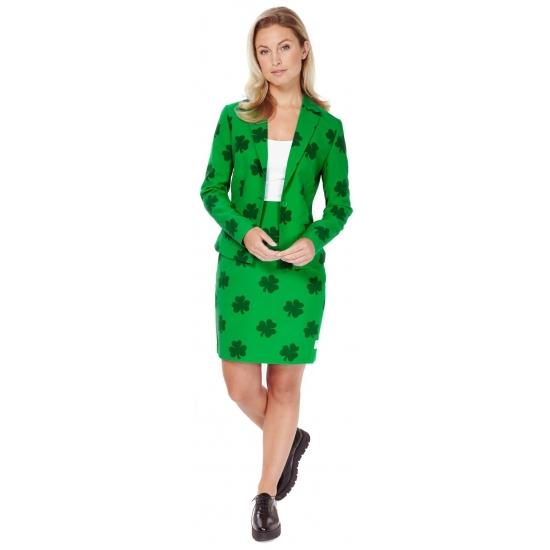 Dames kostuum met groene klavertjes