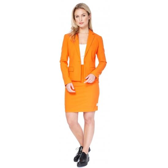 Soorten kostuums Dames mantelpakje oranje
