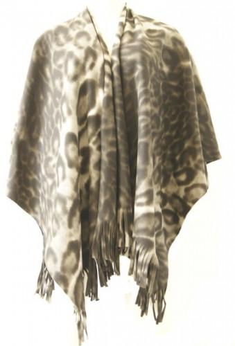Dames poncho sjaal panterprint
