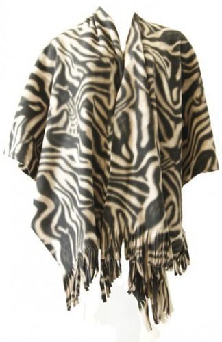 Dames poncho sjaal zebraprint
