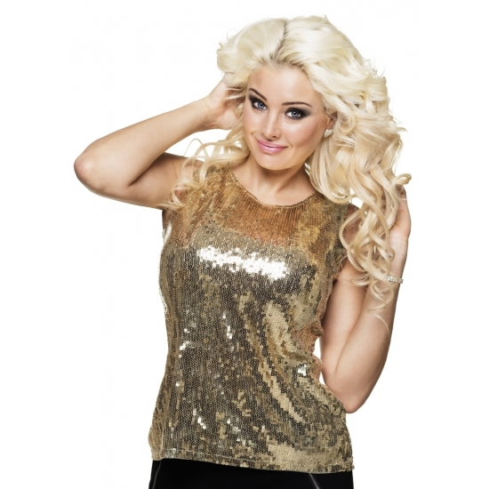 Soorten kostuums Carnavalskostuum winkel Dames top goud met pailletten