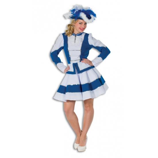Dansrok met jasje blauw met wit voor dames
