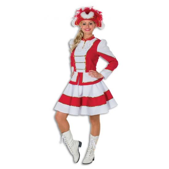 Dansrok met jasje rood met wit voor dames