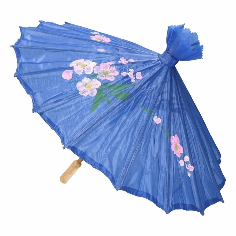 Decoratie parasol Chinese stijl blauw 80 cm