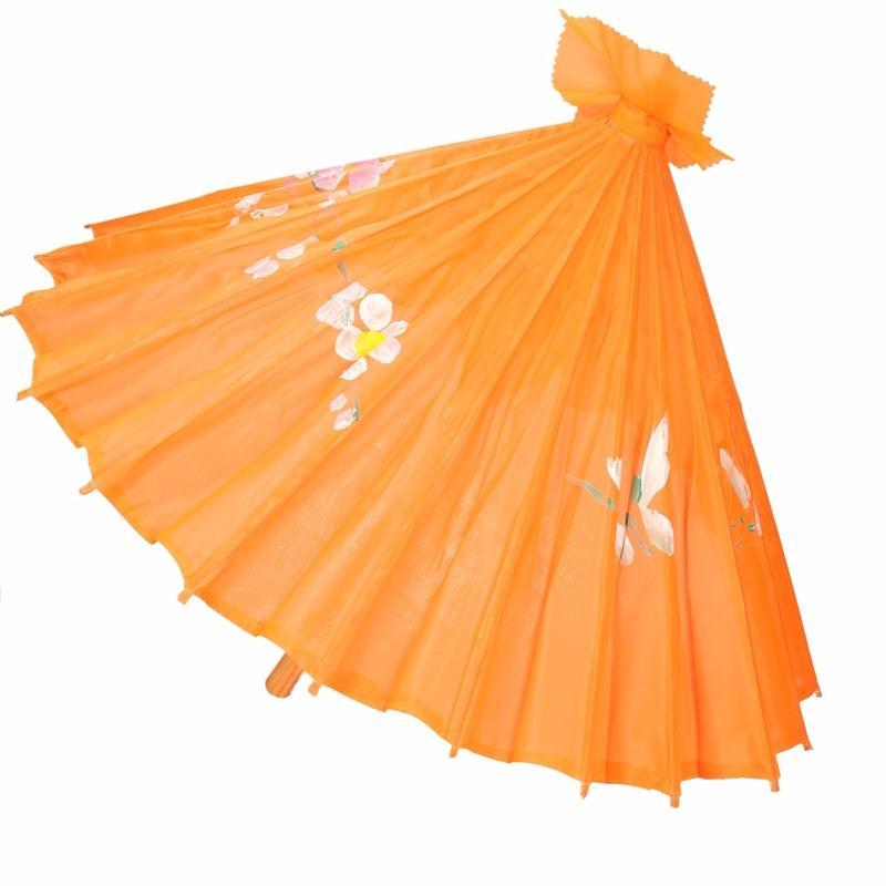 Decoratie parasol Chinese stijl oranje 80 cm