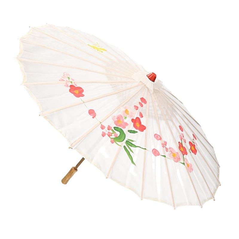 Decoratie parasol Chinese stijl wit 80 cm