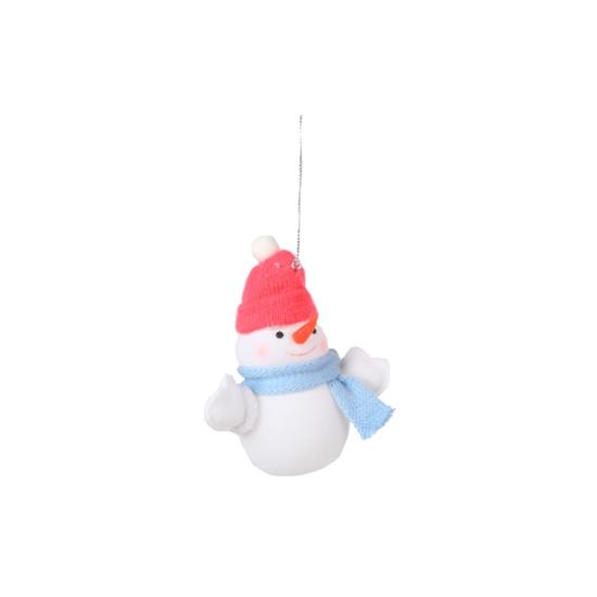 Decoratie sneeuwpop 8 cm rode muts