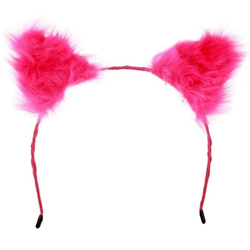 Diadeem pluche roze oren voor volwassenen