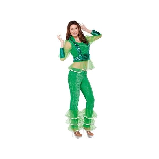 Disco kostuum groen voor dames