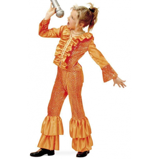Geschiedenis kostuums Carnavalskostuum winkel Disco kostuum oranje met glitters