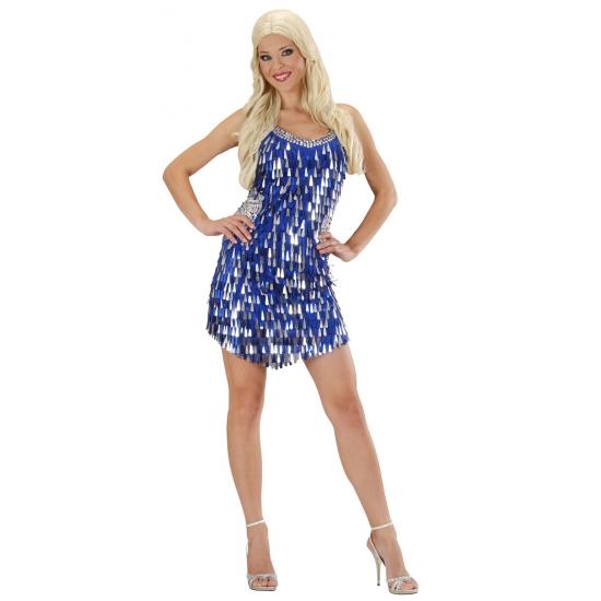 Feestelijke jurkjes met pailletten blauw zilver
