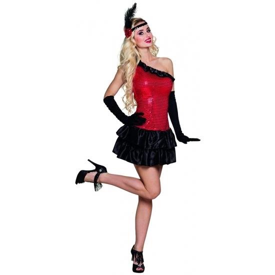 Carnavalskostuum winkel Flapper kostuum jurkje rood met zwart Geschiedenis kostuums