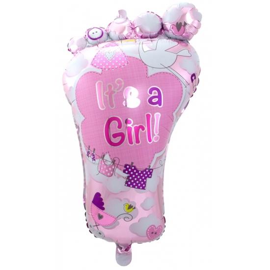 Folieballon voetje geboorte meisje 70 cm