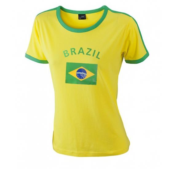Landen versiering en vlaggen Shoppartners Geel met groen Brazilie shirt voor dames