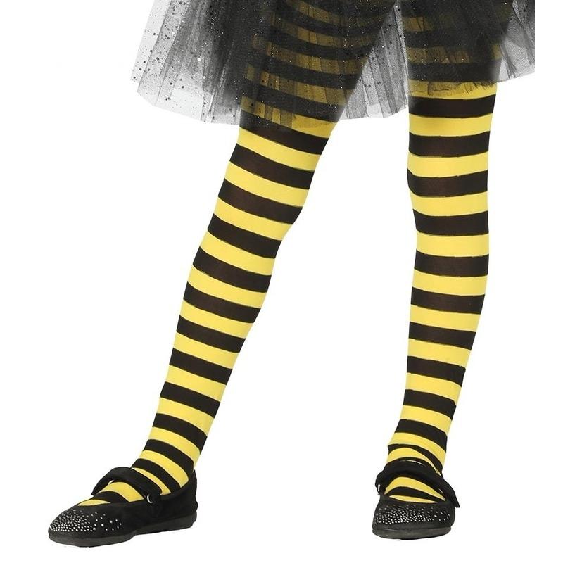 Geel/zwart gestreepte panty 15 denier voor meisjes