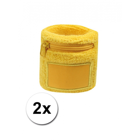 Geel zweetbandje voor de pols met rits 2 stuks