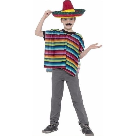 Landen kostuums Smiffys Gekleurde poncho en sombrero voor kinderen