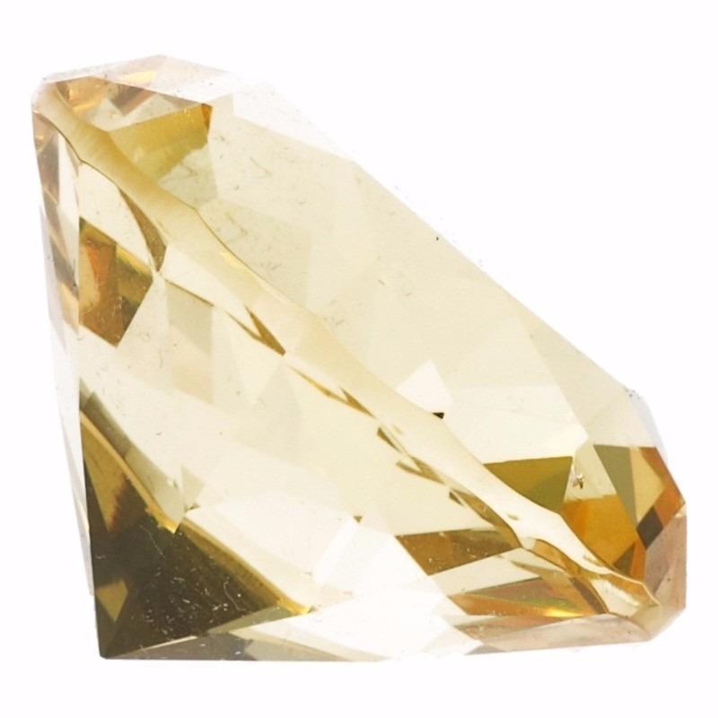 Gele nep diamant 5 cm van glas