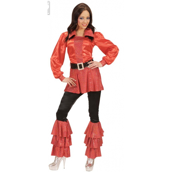 Glimmende rode dames overhemd met riem